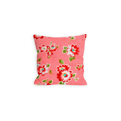 Retro Flowers Coral Pink Pillow - LIL