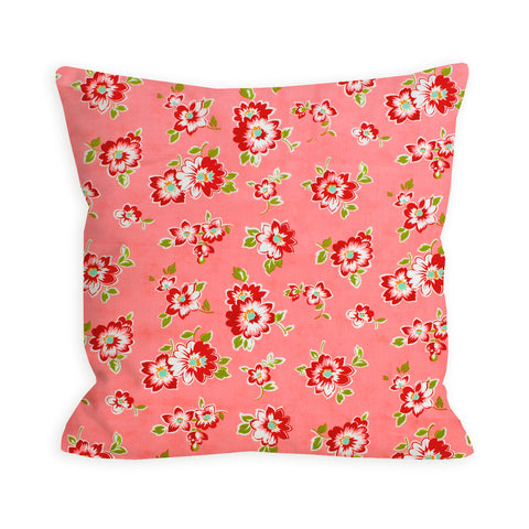 Retro Flowers Coral Pink Pillow