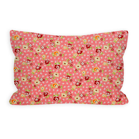 Retro Mini Flowers Coral Pink Toddler Pillow