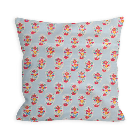 Mosiac Flower Power Light Blue Pillow