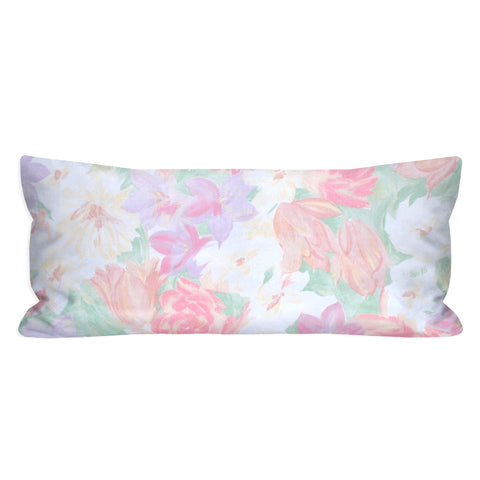 Vintage Pastel Watercolor Floral Lumbar Pillow