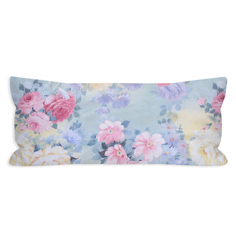 Vintage Romantic Carnation Sky Lumbar Pillow