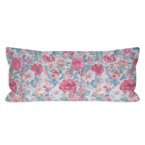 Vintage Romantic Floral Roses Lumbar Pillow