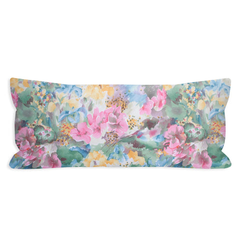 Vintage Watercolor Floral Garden Lumbar Pillow