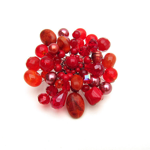 Red Coral Brooch