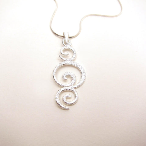 Triple Swirls Pendant Necklace