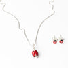 Ladybird Pendant Necklace and Earrings