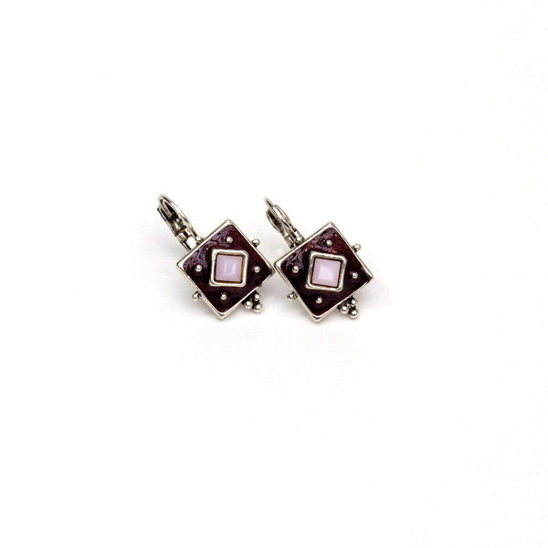 Deep Purple Enamel Earrings with Crystal