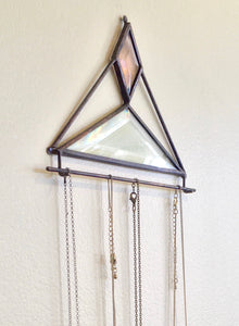 PEACH AND CLEAR BEVELED GLASS NECKLACE HOLDER