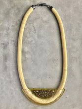Load image into Gallery viewer, CHARTREUSE GLASS AND METAL STATEMENT NECKPIECE