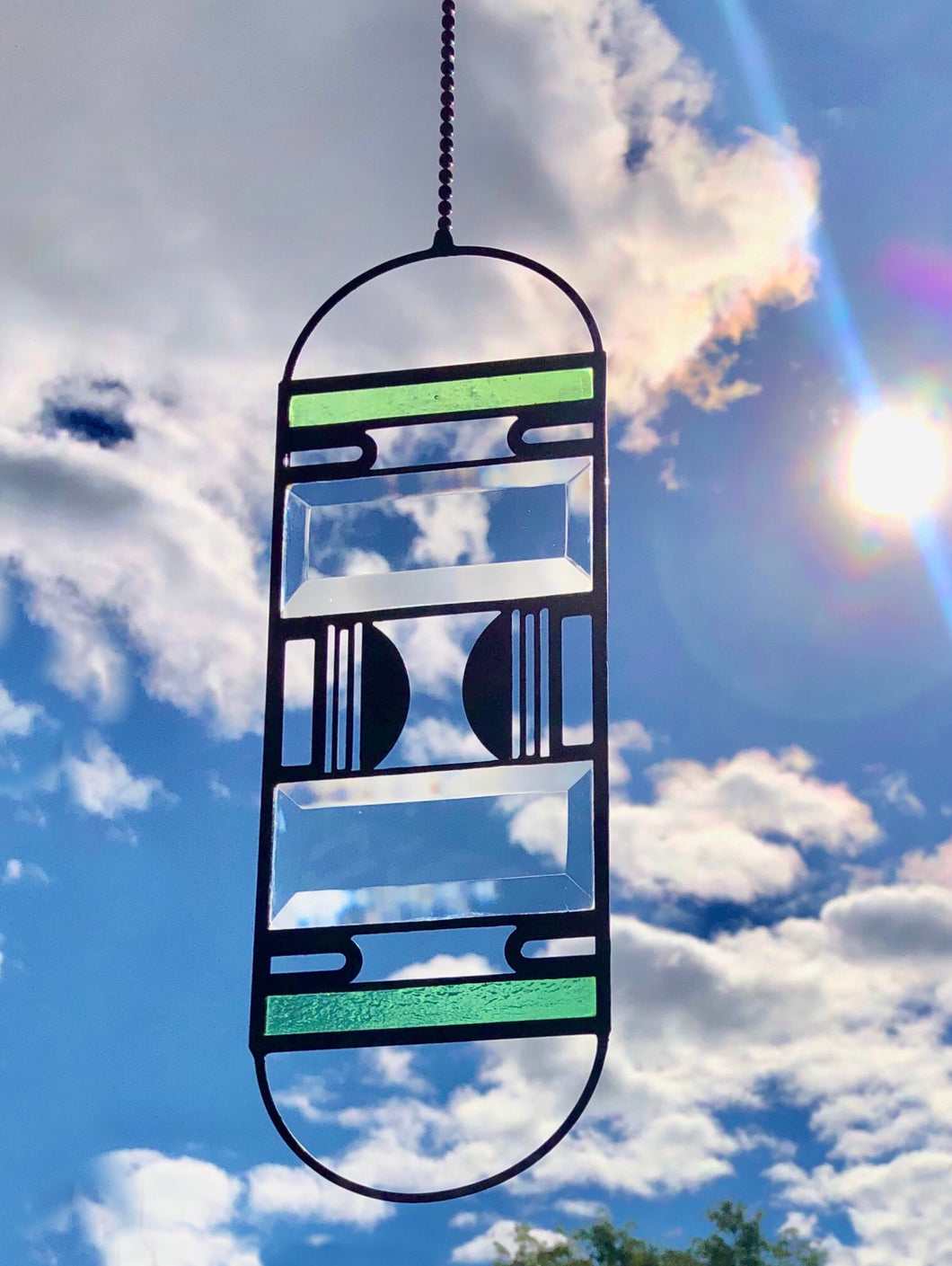 GREEN CURVED DECO SUNCATCHER