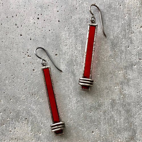CRIMSON RED MONUMENT EARRINGS