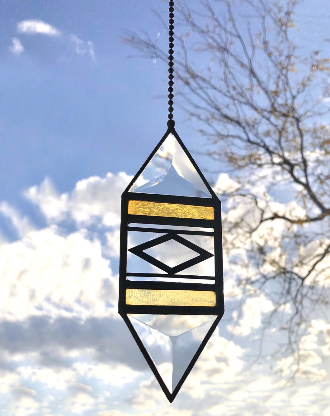 SMALL YELLOW TRIGON SUNCATCHER