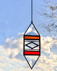 SMALL ORANGE/RED TRIGON SUNCATCHER