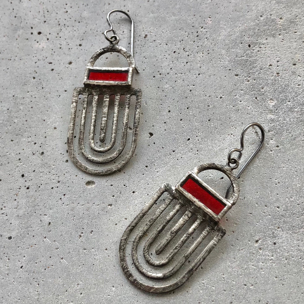 CRIMSON RED LABRINTH EARRINGS
