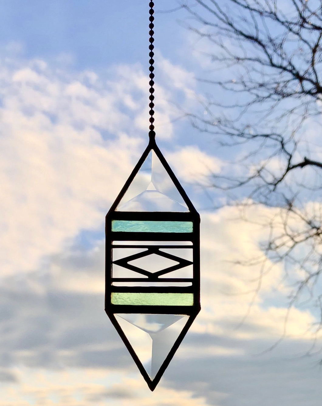 SMALL BLUE/GREEN TRIGON SUNCATCHER
