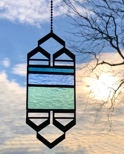 SMALL PERIWINKLE/GREEN ELEVATION SUNCATCHER