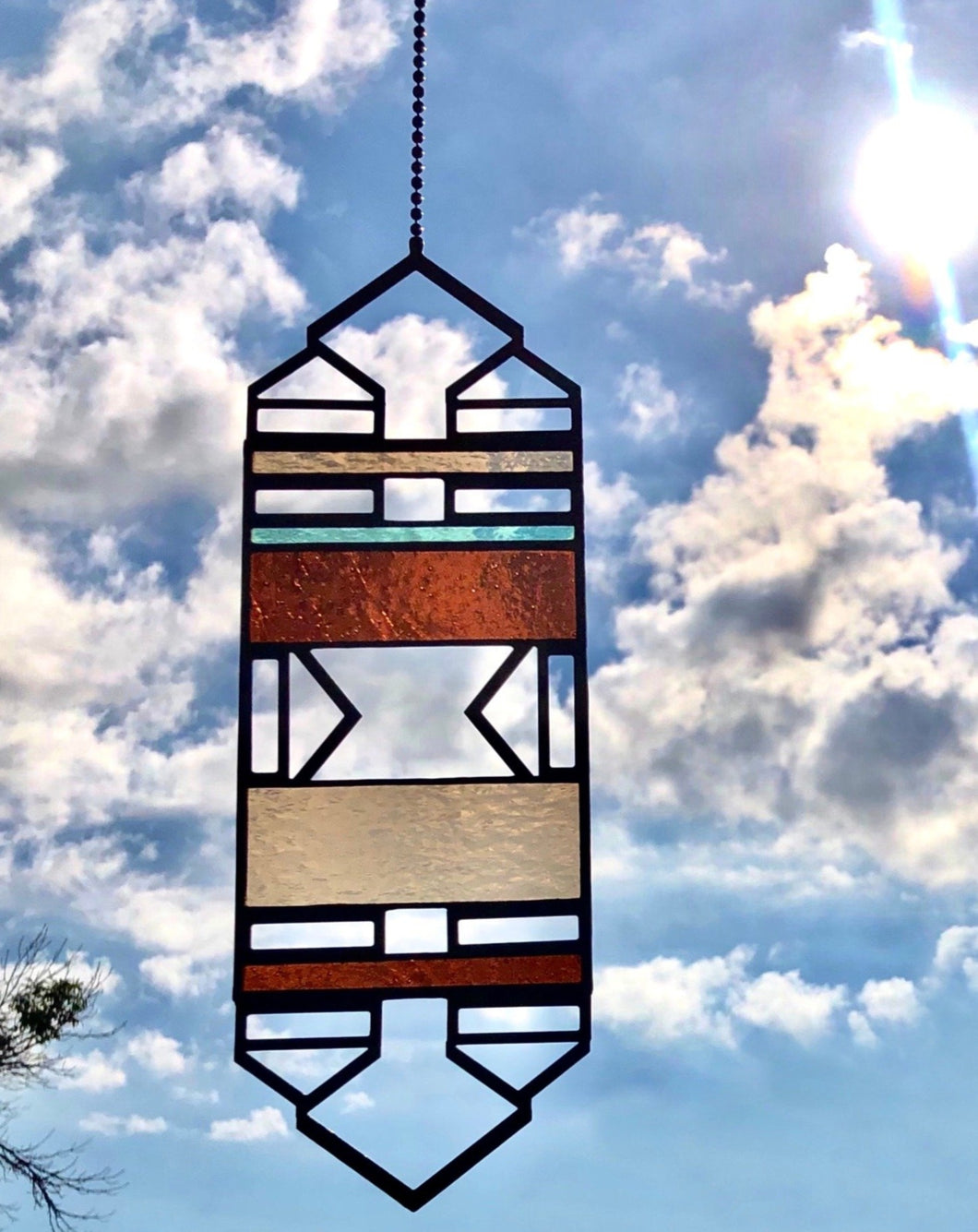 LARGE BROWN/BLUE ELEVATION SUNCATCHER