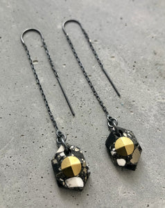 FACETED HEXAGON THREADER EARRINGS