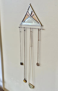 PINK BEVELED GLASS NECKLACE HOLDER