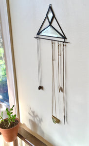 CLEAR BEVELED GLASS NECKLACE HOLDER