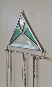GREEN BEVELED GLASS NECKLACE HOLDER