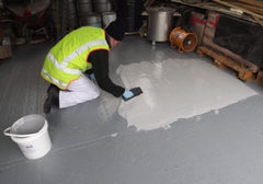 Waterbased epoxy floor screed, ideal for eroded concrete floors in beverage industries
