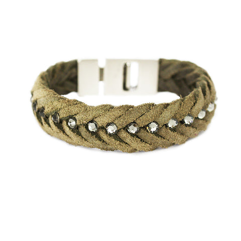 Braided Leather Bracelet Khaki Green