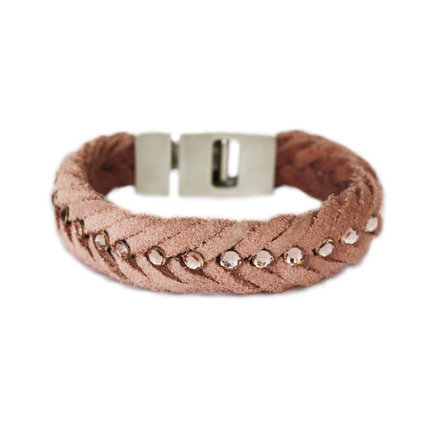 Braided Leather Bracelet Antique Pink