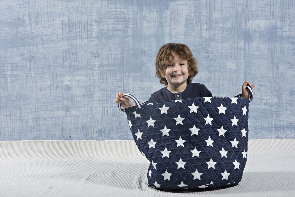 large basket navy and white star