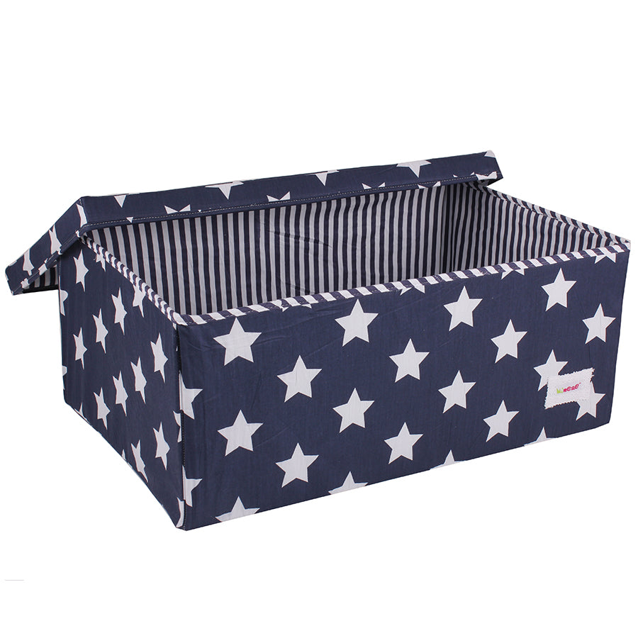 Fabric Storage Box, Large 60*40*25cm Size, Rigid Sides, Navy Fabric with White Stars Print, Lidded