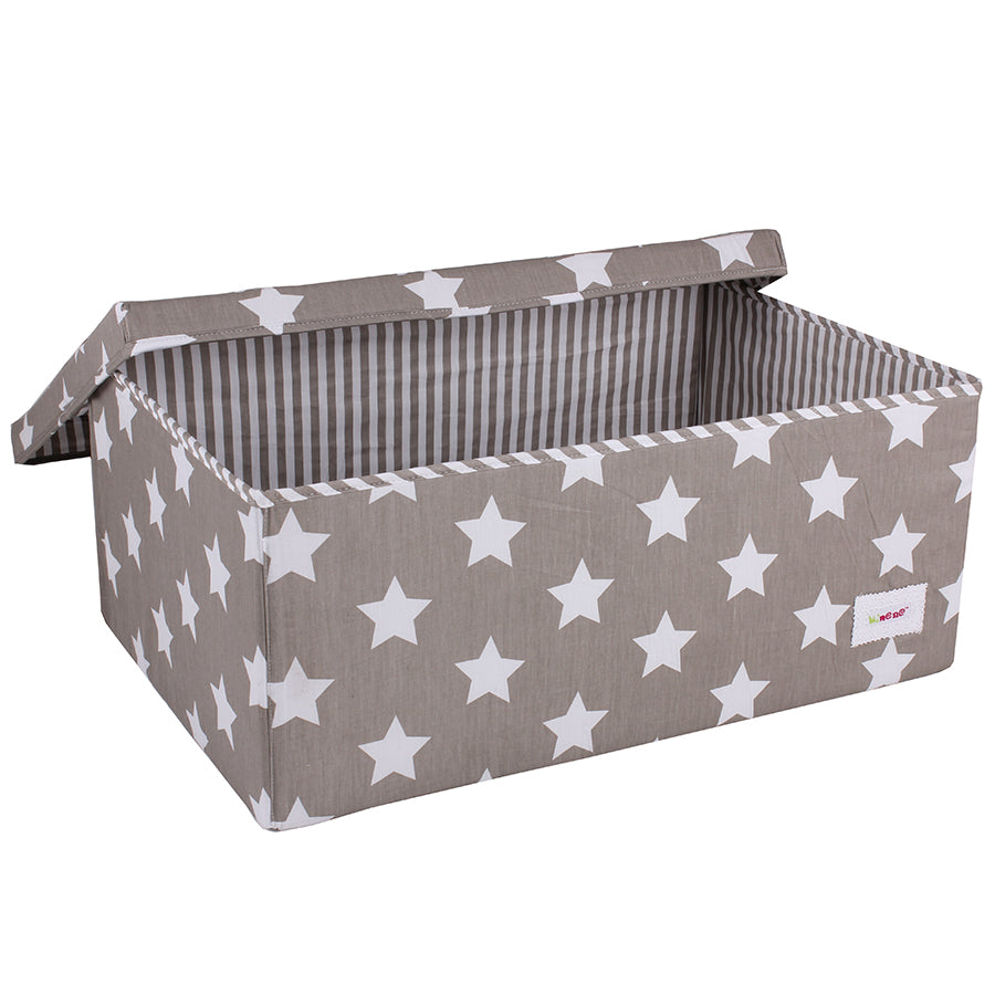 Fabric Storage Box, Large 60*40*25cm Size, Rigid Sides, Grey Fabric with White Stars Print, Lidded