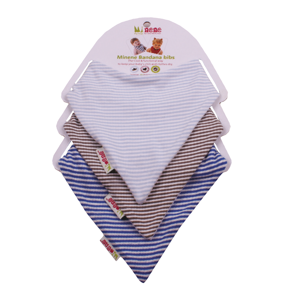 Blue, Grey & White stripe bandana bibs