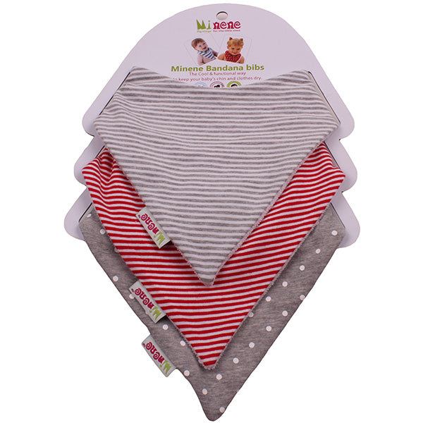 Bandana Bib Trio - Grey, red and white