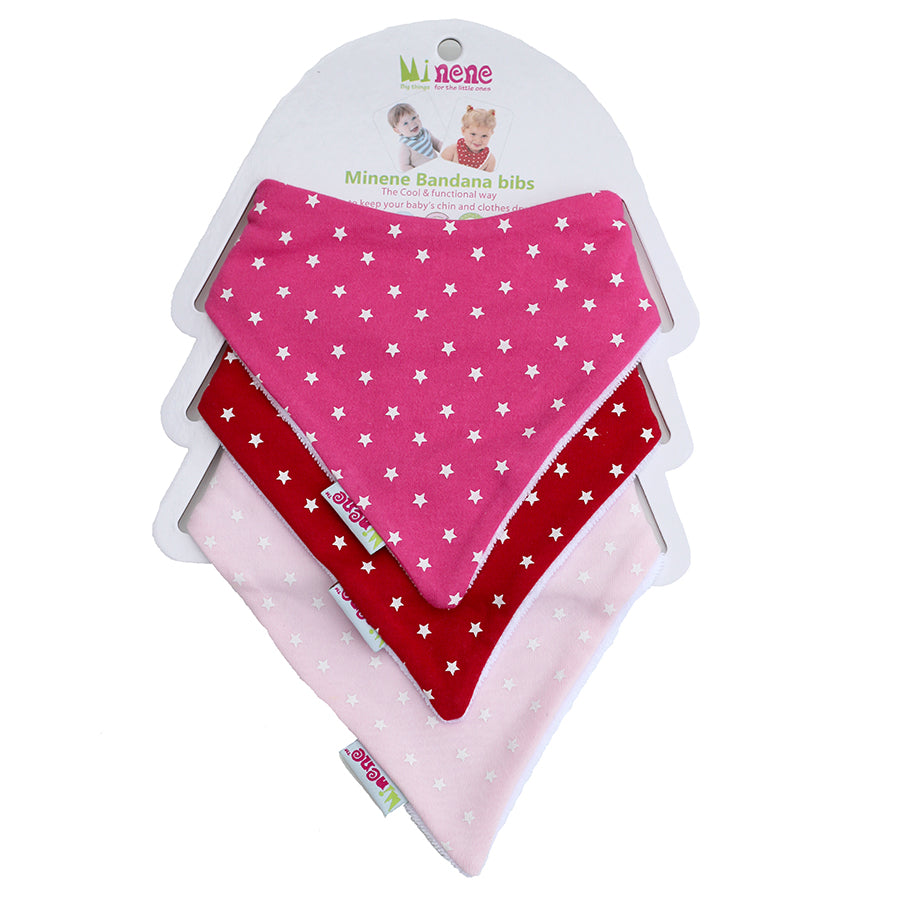 Pink & Red With Little White Stars bandana bib trio