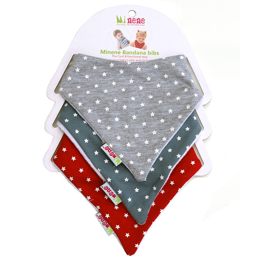3 bibs in Blue, Grey & Red With Little White Stars