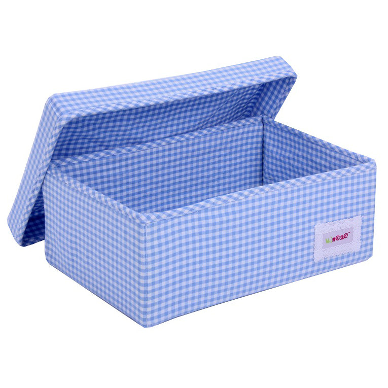 Small box Blue with white check