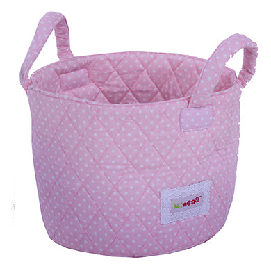 Fabric Storage Basket Small 22*18cm Size, Handles, Pink Fabric with White Dot Print