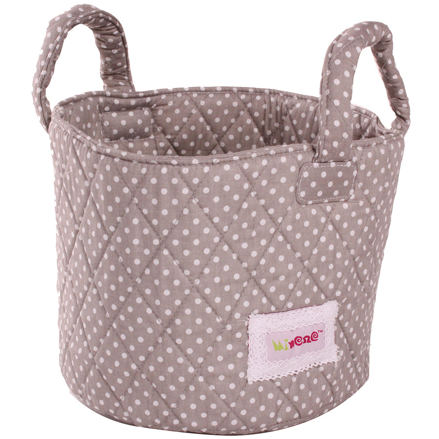 Fabric Storage Basket Small 22*18cm Size, Handles, Grey Fabric with White Dots Print