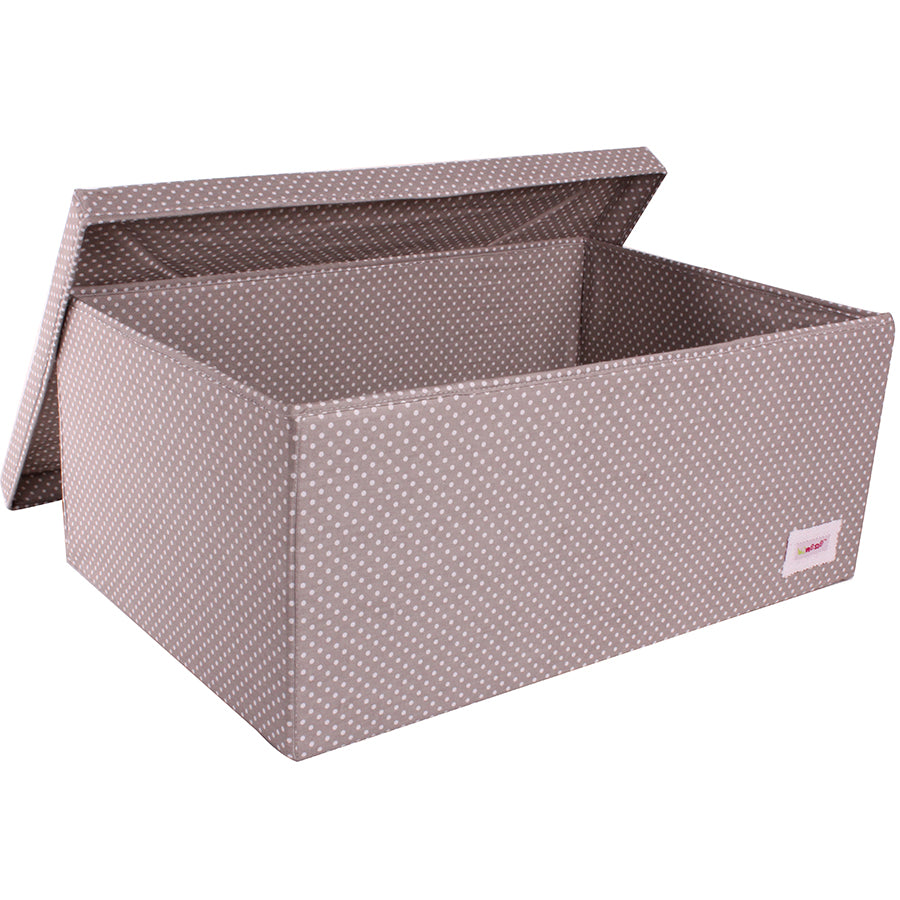 Fabric Storage Box, Large 60*40*25cm Size, Rigid Sides, Grey Fabric with White Dots Print, Lidded