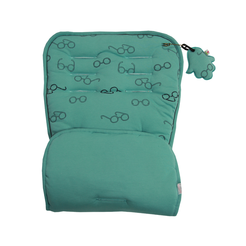 Turquoise cotton with black glasses print. Plain turquoise on reverse. Pushchair / Car Seat