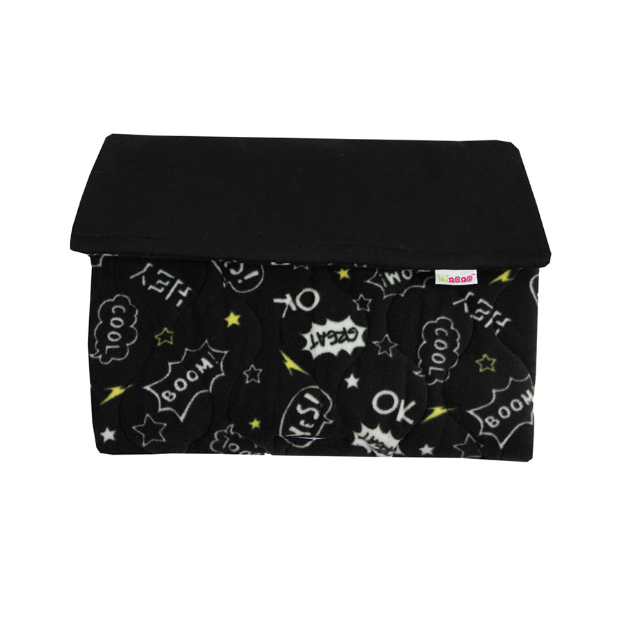 Black comic design 2 in 1 footmuff and liner. soft fleece