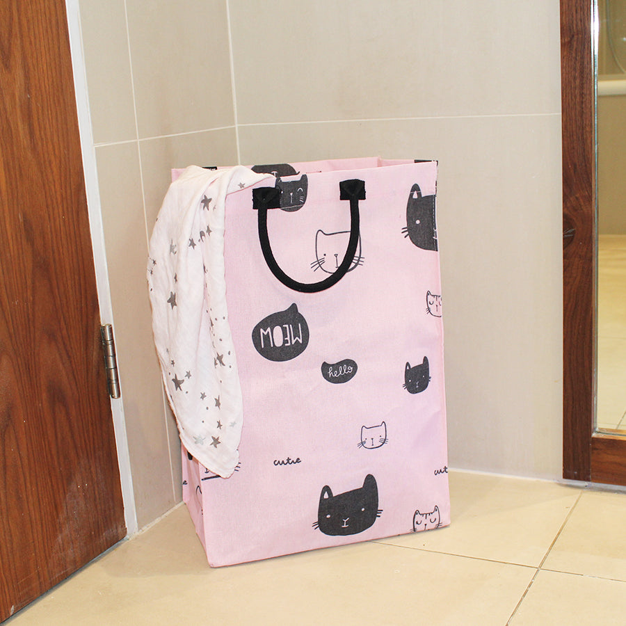 lightweight laundry bag Pink with kitty cats