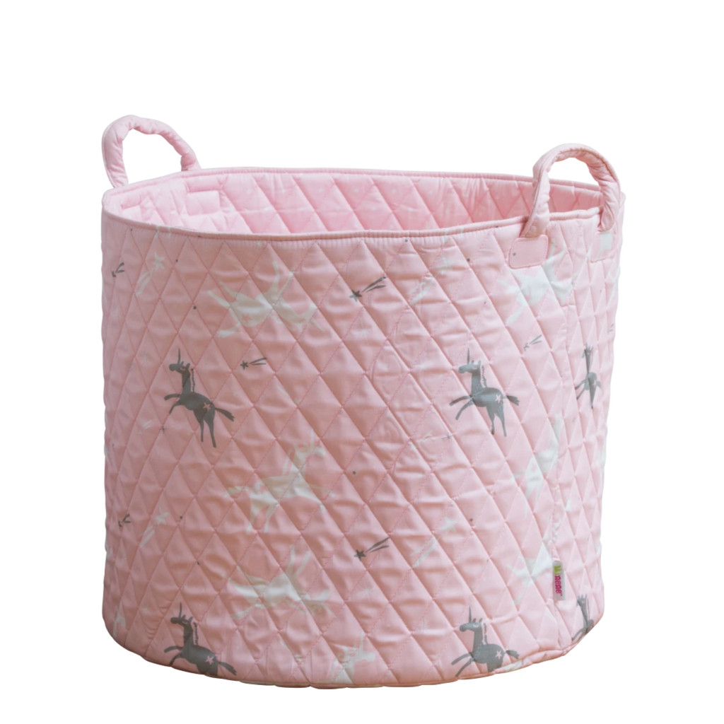 Large storage basket in pink with grey and white unicorns.