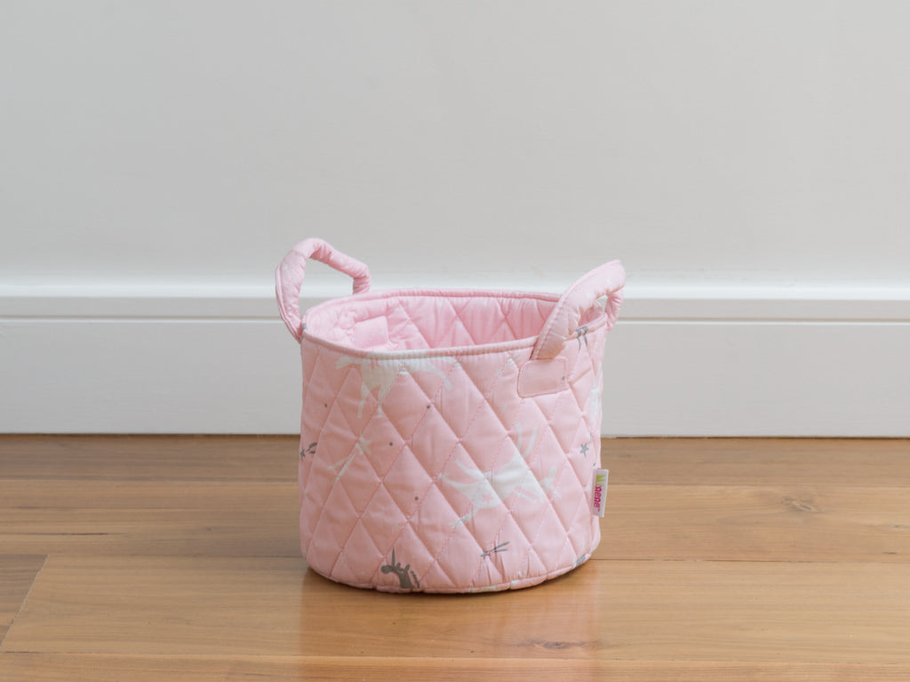 small pink with grey and white unicorn basket
