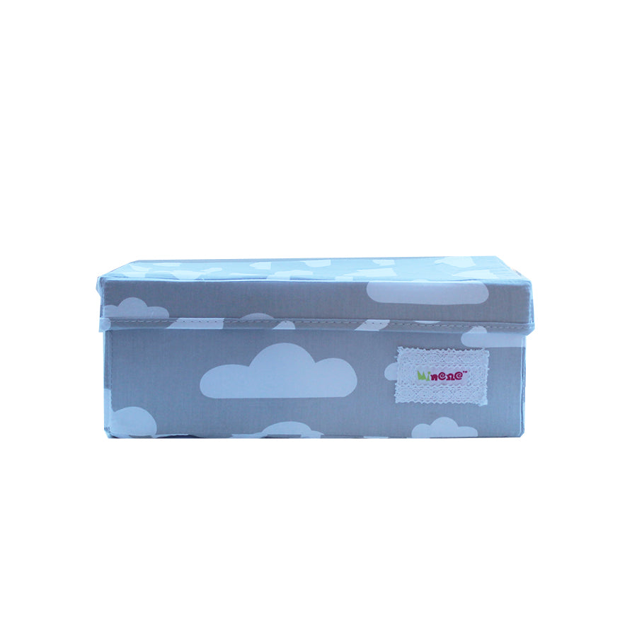 Small Storage Box - Grey with White Clouds