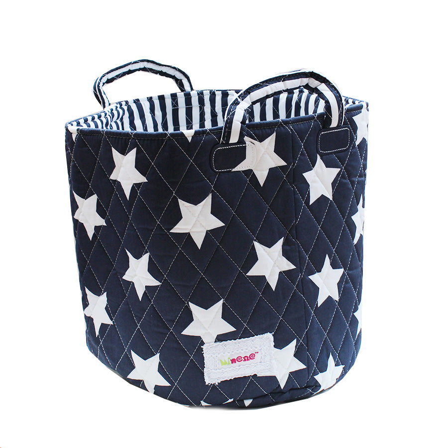 Fabric Storage Basket Medium 29cm Size, Handles, Navy Fabric with White Star Print