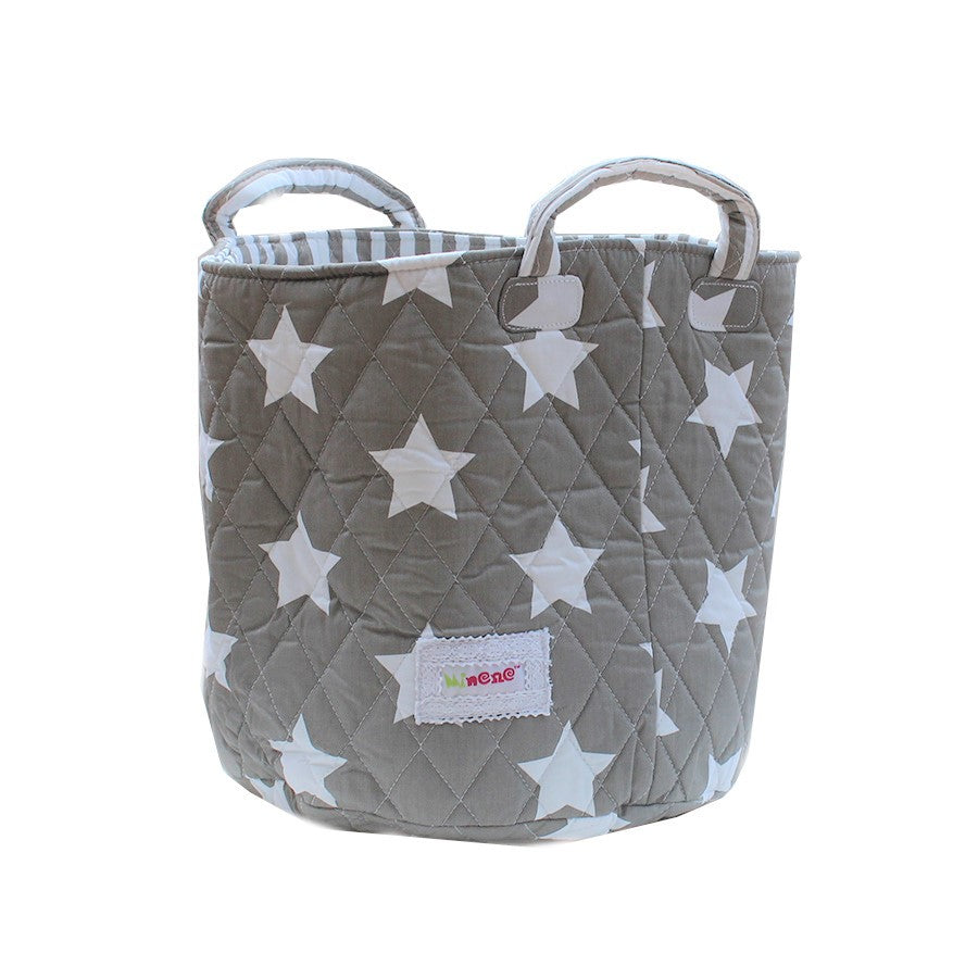 Fabric Storage Basket Medium 29cm Size,Handles, Grey Fabric with White Star Print