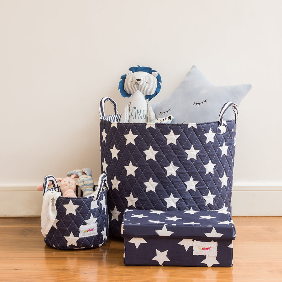 2 Fabric Storage Baskets, 1 Small 22*18cm Size and 1 Large 44cm Size, Handles, Navy Blue Fabric with White Star Print