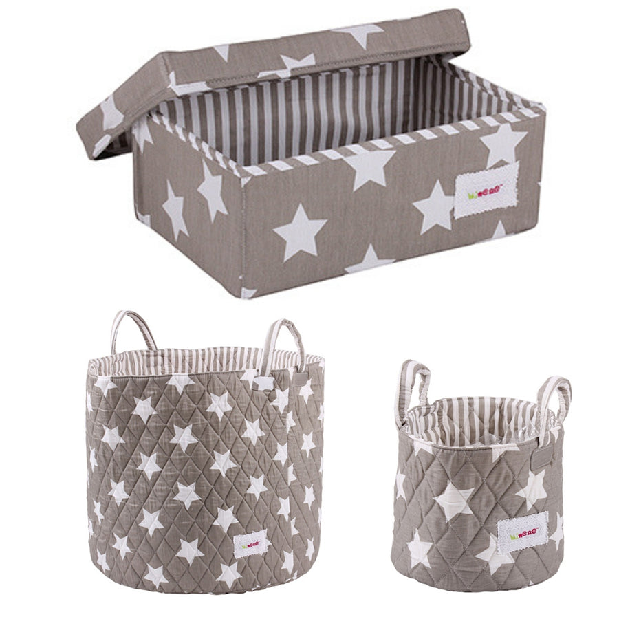 3 piece grey star storage set- small basket, large basket and small box